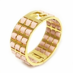 FENDI Medium Light Pink Lamb Leather Gold Metal Bracelet 8AG137