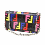 Fendi Red Leather Zucca Chain Clutch 8M2019