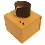 Fendi Women's Light Brown Leather Bangle Bracelet with Gold Snap Closure 8AG355