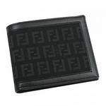 Fendi Black Leather Zucchino Bifold Wallet 13795