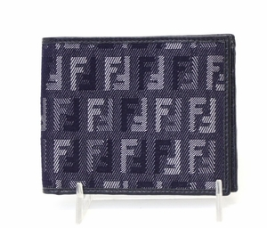 Fendi Blue Leather Zucchino Logo Men's Wallet M008