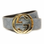 GUCCI 114876 Gucci Blue Leather GG Logo 90CM / Size 36 Belt