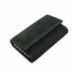 GUCCI 150402 Gucci Black Canvas and Leather GG Logo Key Holder Case