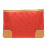 Gucci 150415 Red Nylon and Leather Logo Cosmetic Case Medium