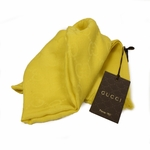 GUCCI 165904 GG Logo Gucci Golden Yellow Wool/Cashmere Silk Scarf