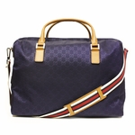 Gucci Large Duffle Bag GG Logo Navy Nylon Brown Leather 196356