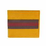 GUCCI  231845 Gucci Brown Leather Bifold Wallet Red Web