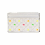 Gucci 233166 Gucci Micro GG Star Card Case Wallet White Leather