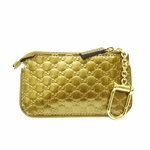 GUCCI 233183 Guccissima Clip Gold Patent Leather GG Logo Coin Purse