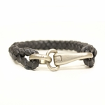 GUCCI 246147 Gucci Unisex Black Leather Woven Clasp Bracelet