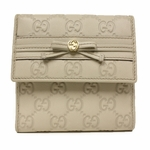 GUCCI 256997 Gucci Bow Continental White Beige Leather Wallet