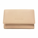 GUCCI 260989 Gucci Pink Leather Keyholder Key Chain Case