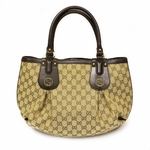 GUCCI 269953 Gucci Scarlett Stud Interlocking GG Hobo Brown Leather