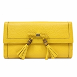 Gucci Bamboo Tassel Continental Gold Yellow Leather Wallet 269981