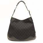GUCCI 272386 Abbey GG Black Canvas and Leather Hobo Bag
