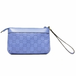 Gucci 274181 GUCCI Guccissima Blue Leather Oversized Wristlet
