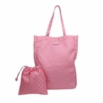 Gucci 281487 Mama's Bag Baby Pink Nylon GG Logo Shopping Tote Bag