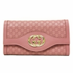 GUCCI 282434 Gucci Interlocking GG Continental Pink Leather Wallet
