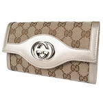 Gucci 282434 Interlocking GG Logo Gold Leather Continental Wallet