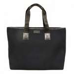 GUCCI 289626 Gucci XL Navy Woven Cotton Travel Tote Bag