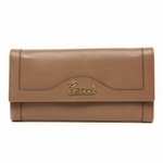 Gucci Script Continental Women's Brown Leather Wallet 294977