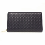 Gucci Large Guccissma Navy Blue Leather GG Logo Zip Around Wallet 302025