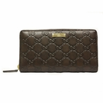 Gucci 307980 Guccissima Brown Leather Continental Zip Around Wallet