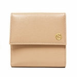 GUCCI 309704 Gucci French Flap Light Pink Leather GG Logo Wallet