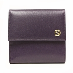 Gucci French Flap Purple Leather Wallet Polka Dot Interior 309704