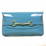 GUCCI 317687 Horsebit Turquoise Patent Leather Evening Clutch Bag Large