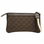 GUCCI 339557 Gucci Brown Nylon and Leather GG Logo Web Wristlet