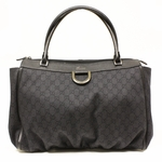 GUCCI 341491 Gucci Large Black Leather Denim Zip Top D Ring Abbey Bag