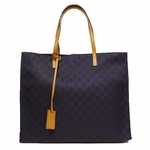 Gucci Navy Blue Nylon Brown Leather GG Logo Shopping Tote Bag