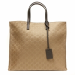 Gucci Brown Nylon and Leather GG Logo Shopping Tote Bag 355732