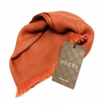GUCCI 362653 GG Logo Gucci Orange Red Wool/Cashmere Silk Scarf