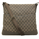 GUCCI 374411 Large Flat Brown Canvas GG Logo Crossbody Messenger Bag