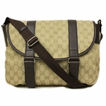 Gucci 374423 Large Canvas and Leather GG Logo Crossbody Messenger Bag