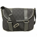 Gucci 374429 GG Logo Black Canvas Crossbody Messenger Bag
