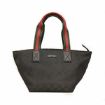 Gucci 374433 Nylon and Leather GG Monogram Black Web Tote Bag