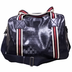 Gucci 374769 GG Logo Navy Blue Imprime Leather Unisex Duffle Bag Carry-On