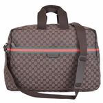 GUCCI 374770 Gucci Large Brown Canvas GG Logo Duffel Travel Bag Unisex
