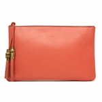 Gucci 376858 Red Leather Braided Tassel Large Clutch Bag