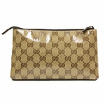Gucci Brown Leather Canvas Crystal Cosmetic Makeup Case 73273R
