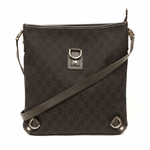 Gucci Abbey GG Logo Brown Denim D Ring Messenger Crossbody Bag 268642