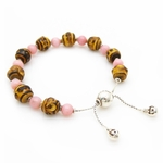 Gucci Bamboo and Pink Stone Sterling Silver Women's Bracelet 284359