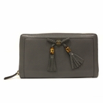 Gucci Bamboo Tassel Blue Gray Leather Continental Zip Around Wallet 269991