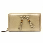 Gucci Bamboo Tassel Metallic Leather Continental Zip Around Wallet 269991