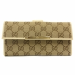 Gucci Beige Canvas Continental Wallet with Trademark Engraved Metal Plate 112715