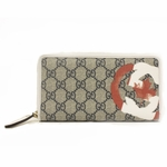 Gucci White Leather and Canvas GG Flag Collection Zip Around Wallet 204196