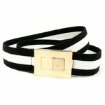 Gucci Black and White Web Belt 253488